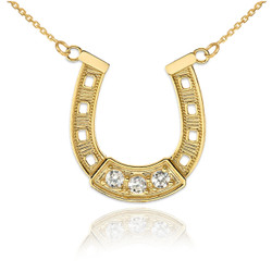 14K Yellow Gold Lucky Horseshoe CZ Necklace