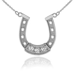 14K White Gold Lucky Horseshoe CZ Necklace