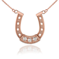 14K Rose Gold Lucky Horseshoe CZ Necklace