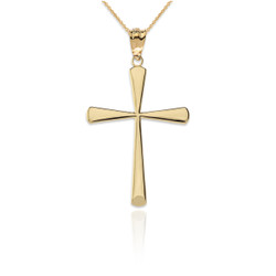 Polished Gold Cross Pendant Necklace