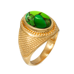 Yellow Gold Green Copper Turquoise Statement Ring