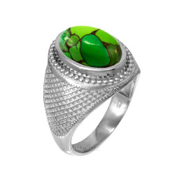 White Gold Green Copper Turquoise Statement Ring