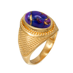 Yellow Gold Purple Copper Turquoise Statement Ring