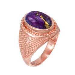 Rose Gold Purple Copper Turquoise Statement Ring