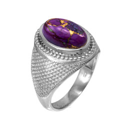 Sterling Silver Purple Copper Turquoise Statement Ring