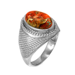 White Gold Orange Copper Turquoise Statement Ring