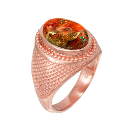 Rose Gold Orange Copper Turquoise Statement Ring