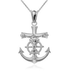 White Gold Mariner Crucifix Cross Pendant Necklace