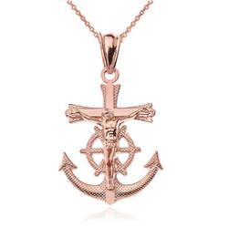 Rose Gold Mariner Crucifix Cross Pendant Necklace