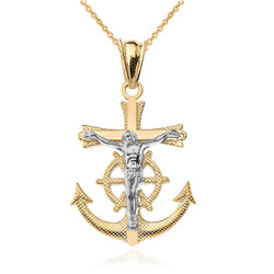 Two-Tone Yellow and White Gold Mariner Crucifix Cross Pendant Necklace