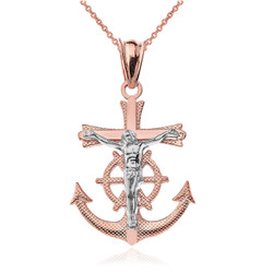 Two-Tone Rose and White Gold Mariner Crucifix Cross Pendant Necklace