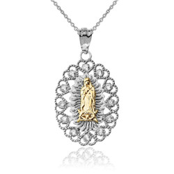Two-Tone White and Yellow Gold Virgin Mary Lady Of Guadalupe Diamond Filigree Pendant Necklace