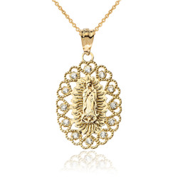 Yellow Gold Virgin Mary Lady Of Guadalupe Filigree CZ Pendant Necklace