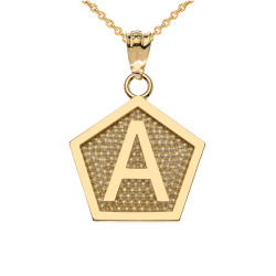 "Yellow Gold Letter ""A"" Initial Pentagon Pendant Necklace"