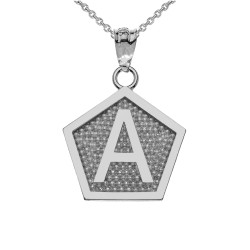 "White Gold Letter ""A"" Initial Pentagon Pendant Necklace"