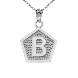 "White Gold Letter ""B"" Initial Pentagon Pendant Necklace"
