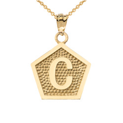 "Yellow Gold Letter ""C"" Initial Pentagon Pendant Necklace"