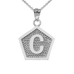 "White Gold Letter ""C"" Initial Pentagon Pendant Necklace"