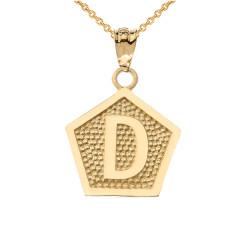 "Yellow Gold Letter ""D"" Initial Pentagon Pendant Necklace"