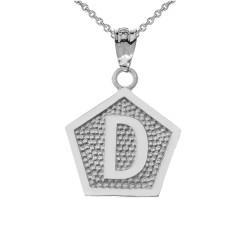 """White Gold Letter """"D"""" Initial Pentagon Pendant Necklace"""