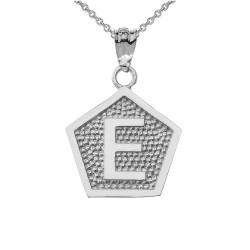 "White Gold Letter ""E"" Initial Pentagon Pendant Necklace"