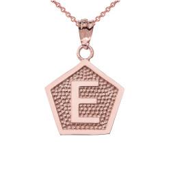 "Rose Gold Letter ""E"" Initial Pentagon Pendant Necklace"