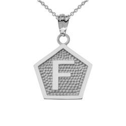 "White Gold Letter ""F"" Initial Pentagon Pendant Necklace"