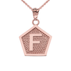 "Rose Gold Letter ""F"" Initial Pentagon Pendant Necklace"