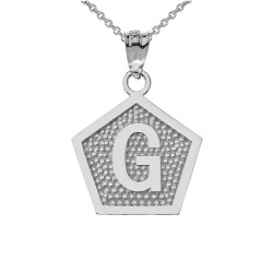 "White Gold Letter ""G"" Initial Pentagon Pendant Necklace"