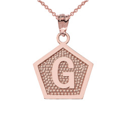 "Rose Gold Letter ""G"" Initial Pentagon Pendant Necklace"