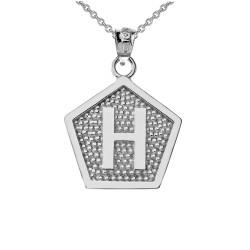 "White Gold Letter ""H"" Initial Pentagon Pendant Necklace"