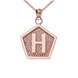 "Rose Gold Letter ""H"" Initial Pentagon Pendant Necklace"