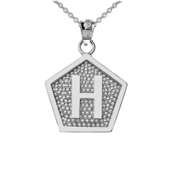 "Sterling Silver Letter ""H"" Initial Pentagon Pendant Necklace"