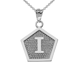 "White Gold Letter ""I"" Initial Pentagon Pendant Necklace"