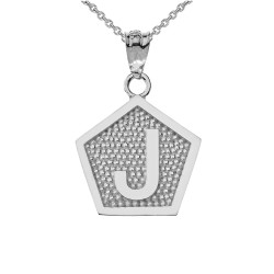 "White Gold Letter ""J"" Initial Pentagon Pendant Necklace"