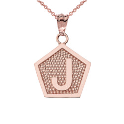 "Rose Gold Letter ""J"" Initial Pentagon Pendant Necklace"