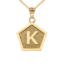"Yellow Gold Letter ""K"" Initial Pentagon Pendant Necklace"