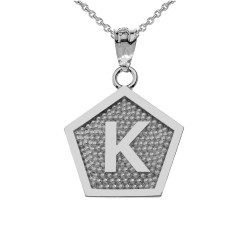 "White Gold Letter ""K"" Initial Pentagon Pendant Necklace"