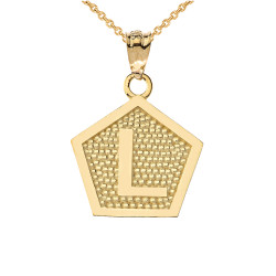 "Yellow Gold Letter ""L"" Initial Pentagon Pendant Necklace"