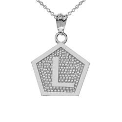 """White Gold Letter """"L"""" Initial Pentagon Pendant Necklace"""