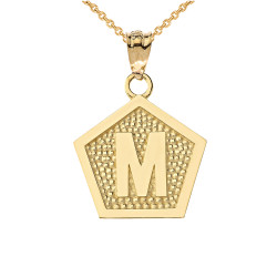 "Yellow Gold Letter ""M"" Initial Pentagon Pendant Necklace"