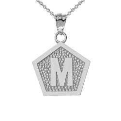 "White Gold Letter ""M"" Initial Pentagon Pendant Necklace"