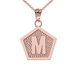"Rose Gold Letter ""M"" Initial Pentagon Pendant Necklace"