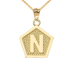 "Yellow Gold Letter ""N"" Initial Pentagon Pendant Necklace"