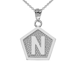 "White Gold Letter ""N"" Initial Pentagon Pendant Necklace"