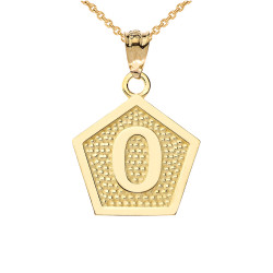"Yellow Gold Letter ""O"" Initial Pentagon Pendant Necklace"