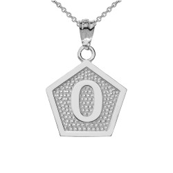 """White Gold Letter """"O"""" Initial Pentagon Pendant Necklace"""