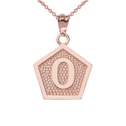 "Rose Gold Letter ""O"" Initial Pentagon Pendant Necklace"