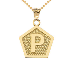 "Yellow Gold Letter ""P"" Initial Pentagon Pendant Necklace"