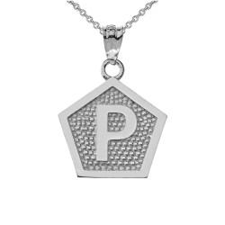 "White Gold Letter ""P"" Initial Pentagon Pendant Necklace"